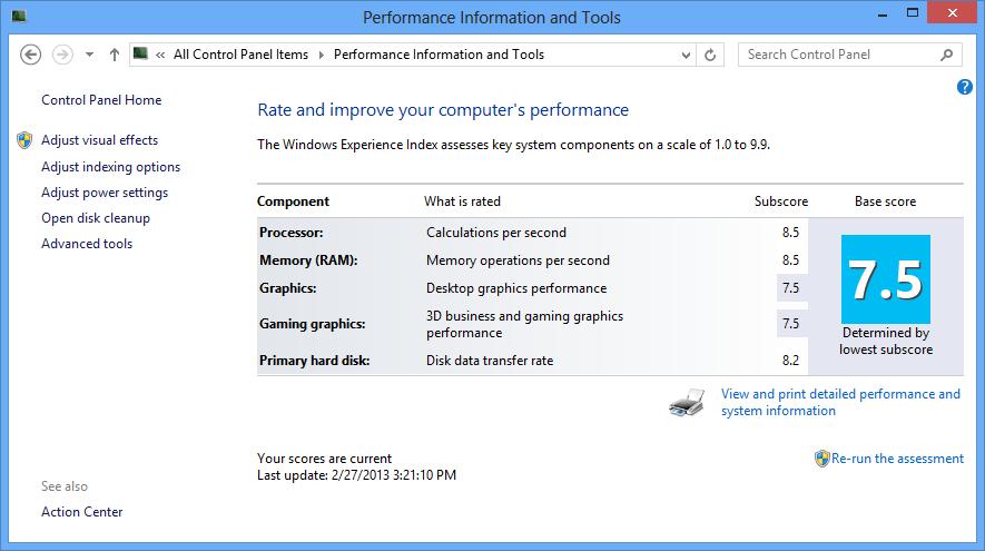 Windows Expirience Index 7.5
