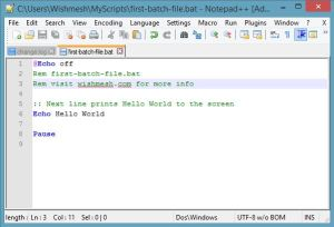 how to create a batch file in notepad on windows