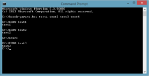 Showing output example from the batch file with parameters