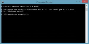 Example output when passed 3 parameters, and only first file exists. Tested under Windows 8.1