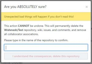 Screenshot - Delete repository warning