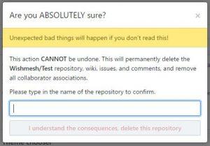 Screenshot - Delete repository warning
